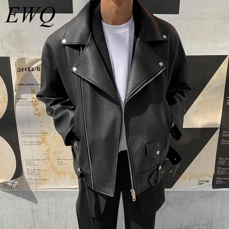 EWQ / Men's Wear 2020 Spring Fashion New PU Leather Men's Clothes Trend Handsome Oversize Jacket Long Sleeve Loose Coat 9Y885