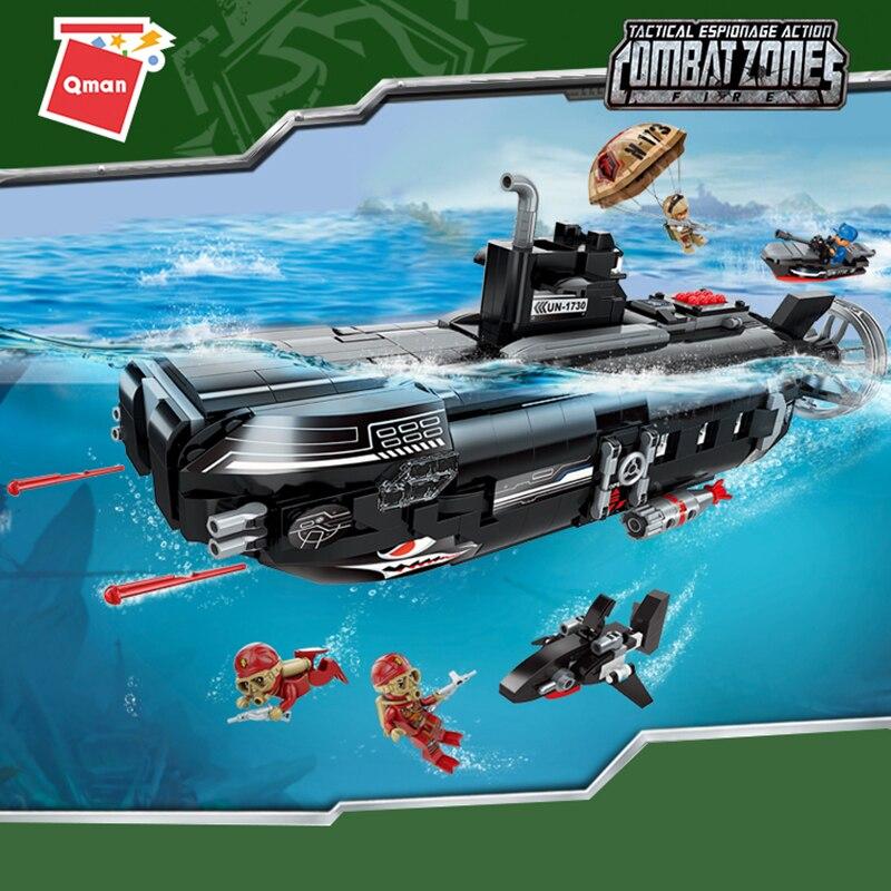 Qman 1730 вооруженная подводная лодка, база, наборы строительных блоков, кирпичи, модель, дети, развивающий подарок, совместимые городские игруш