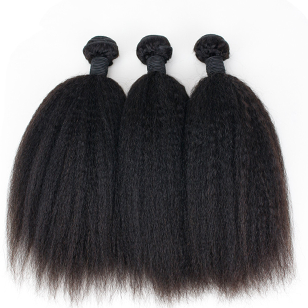 Eseewigs Kinky Straight Hair Brazilian Remy Hair Weave Bundles Coarse Yaki 100% Human Hair Extensions