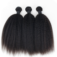 Eseewigs Kinky Straight Hair Brazilian Remy Hair Weave Bundles Coarse Yaki 100% Human Hair Extensions