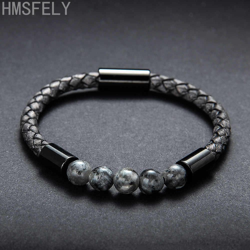 HMSFELY Retro Style Dark Gray Men Genuine Leather Bracelet Natural Ore Stone Beaded Magnetic Clasp Rope Bracelets For Men Women