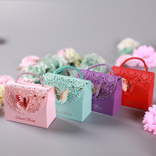 50pcs Hollow Butterfly Baby Shower Birthday Party Decoration Christmas Supplies Wedding Candy Box Tote Paper Gift Bags Handbag