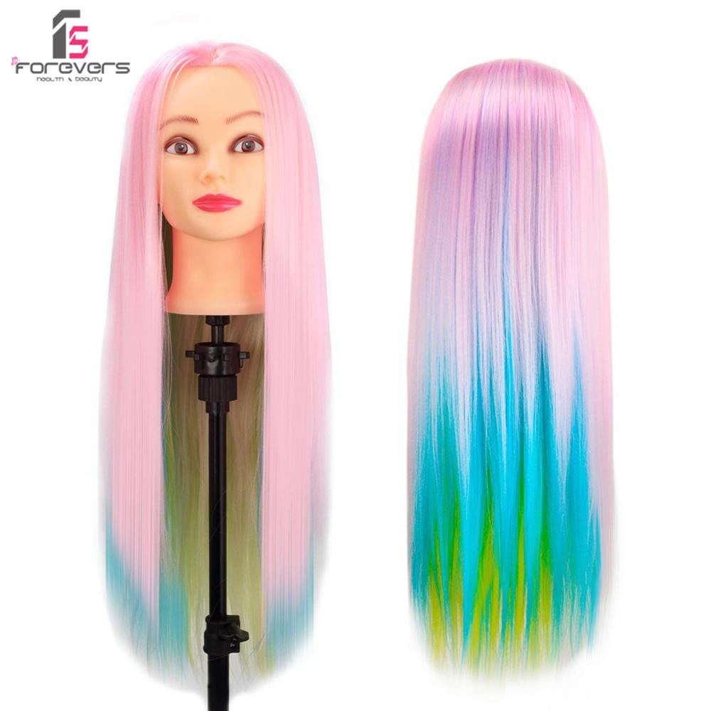 """24"""" Colorful Hair Hairdressing Training Head Model Practice Mannequin Doll Free Clamp"""