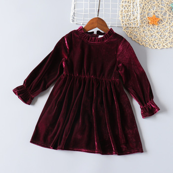 chinese style winter girls dress long sleeve embroidered cheongsam princess dresses for girls birthday party dress kids clothing Girls Long Sleeve Velvet Dress Autumn Winter Warm Princess Dresses For Girls Children Cotton Clothing Christmas Outfit For Kids