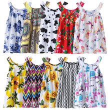 Summer New Baby Dress Girls Fashion Dresses Cotton Children's Clothes Floral Vest Dot Cow Printed Kids Clothing Lovely Sundres