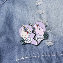 Ladies brooch cartoon love enamel pin buckle mini badge cute personality bag jewelry accessories FXM creative personality gestures alloy brooch enamel pin mini badge bag clothes jewelry gifts to friends fxm