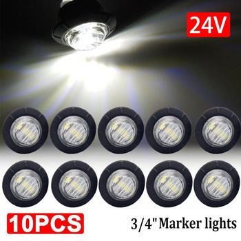10 sztuk 24V wodoodporna 3led 3 4 #8222 przyczepy boczne światła sygnalizacyjne przednie tylne ciężarówki ciągniki autobusowe światła obrysowe lampy białe okrągłe tanie i dobre opinie Vehicleader LG196702 2 7cm 1 06 Trailer Light Inne LED Trailer Light Side Marker Light Warning Rear Light Lamp Car Styling