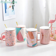 Korean Style Pink Ceramic Cup Lovely Creative Mug For Office Home Student Adult Coffee Milk Water Cups And Mugs  With Lid Spoon