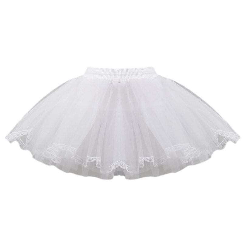 Hard Net Lace Bride Wedding Dress Petticoat Kids Women Short White Mesh Petticoats Elastic Drawstring Waistband No Hoop Tulle Sk