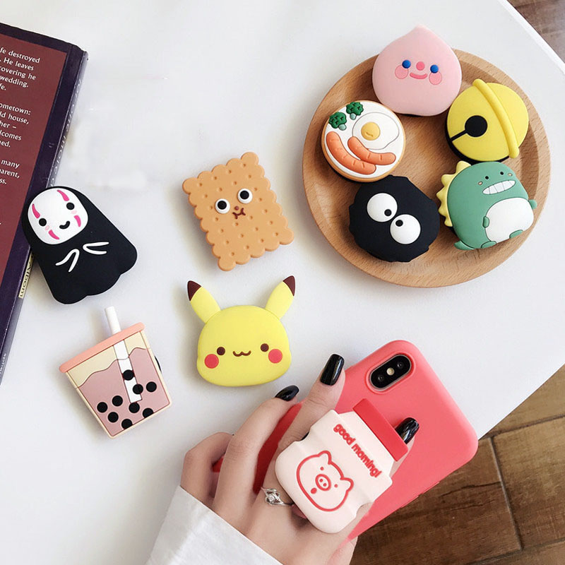 Kingqiu Cartoon Socket Universal Mobile Phone Ring Holder Airbag Gasbag fold Stand Bracket For iPhone X XR Samsung Huawei Xiaomi