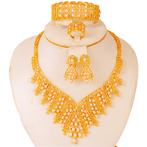 Ethiopian Jewelry sets African 24k gold for women Dubai wedding gifts bridal party Necklace earrings ring set collares jewellery
