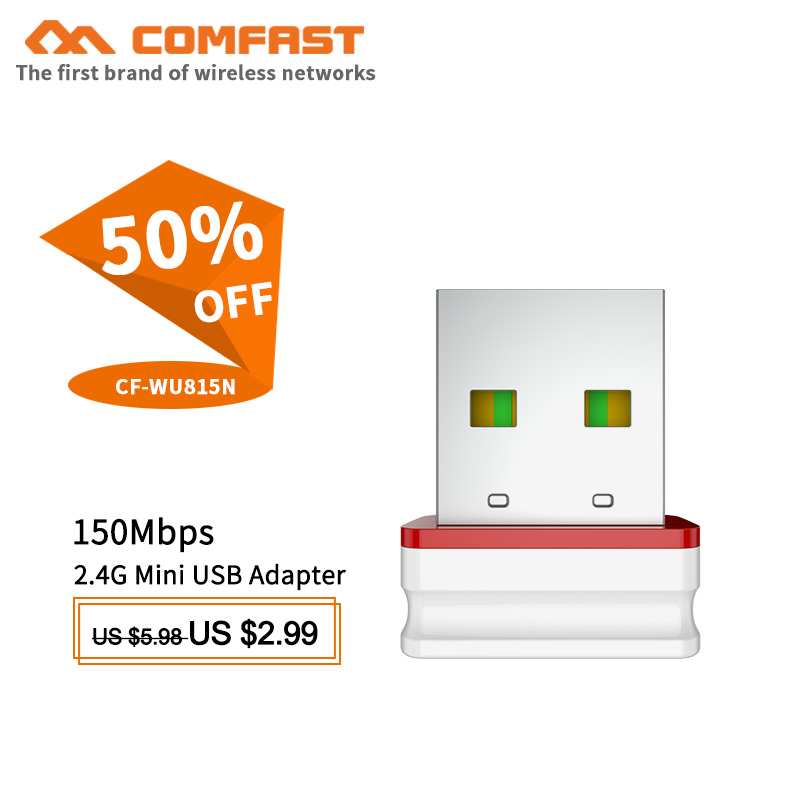 Free Driver USB WiFi Adapter Mini Network Card 150Mbps Wi-Fi Adapter PC Wi Fi Dongle Soft AP 2.4G Wps USB Ethernet WiFi Receiver