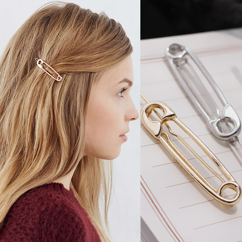 Creative Paper Clip Trendy Metal Hair Clip Unique Personalized Hair Accessories Solid Hairpins Headwear Hair Grips For Womens