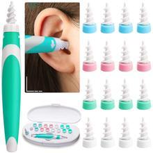 Ferramenta de remoção de cera de ouvido macio silicone espiral orelha limpeza 16 cabeças substituição remoção ouvidos cleaner plugues spirals cuidados