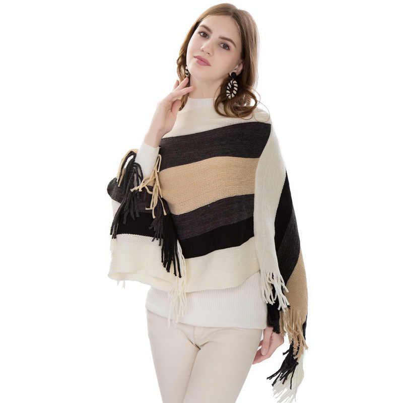 Осенне-зимний вязаный свитер с кисточками, модные женские накидки + пончо с длинным рукавом, однотонные пуловеры, женское пончо, LW907