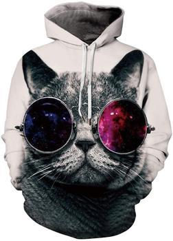 Men's Pullover Hoodie Galaxy Animal 3D Print Hooded Sweatshirts Unisex (2X-Large - 3X-Large, 01 Cat) 3d galaxy tree print pullover hoodie