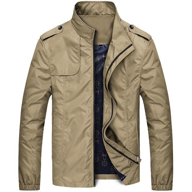 Men s Autumn Winter Casual Jacket Coat Zipper Stand Collar Pocket Soild Chaquetas Hombre Casual Male Outwear Windbreake
