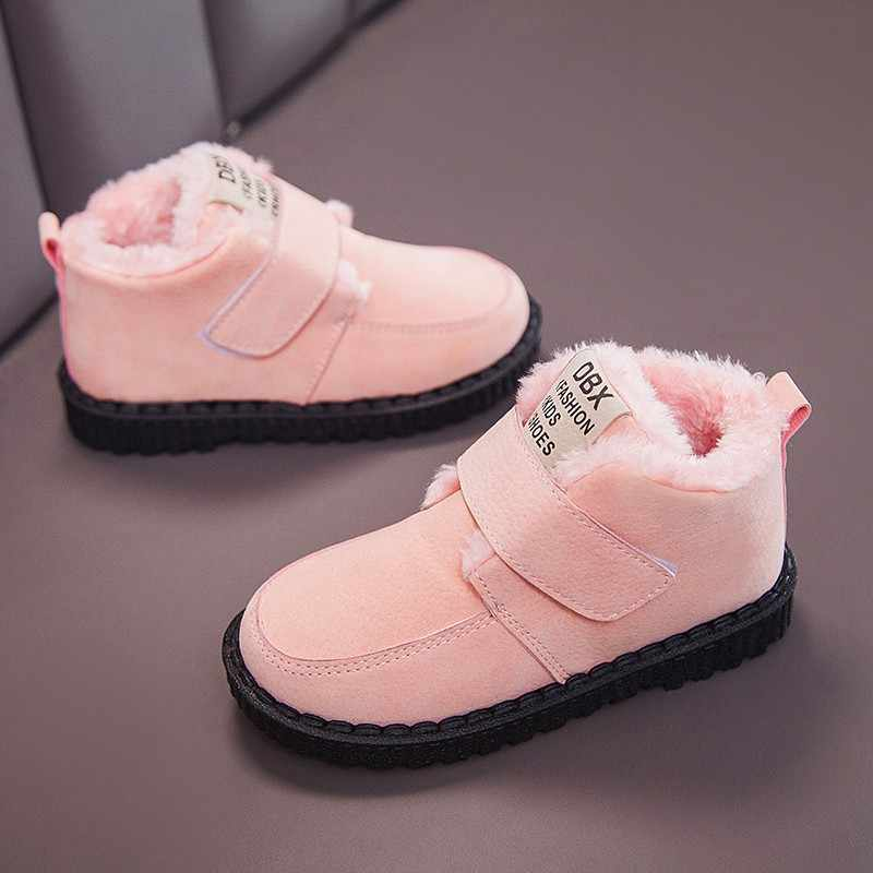 Winter Children Boots Boys Cotton Shoes Letter Plush Warm Girls Snow Boots Anti-slip Baby Girl Shoes Kids Ankle Boots SP061