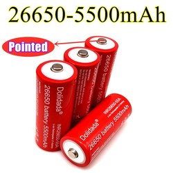 26650 New Original 3.7 v 5500 mah Lithium Rechargeable Battery 26650 with Pointed(No PCB) For flashlight batteries