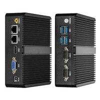 Fanless Mini PC Intel Core i3 4010U 4010Y 5005U Windows 10 Linux 2*Gigabit LAN 2*RS232 4*USB WiFi Compact Industrial PC