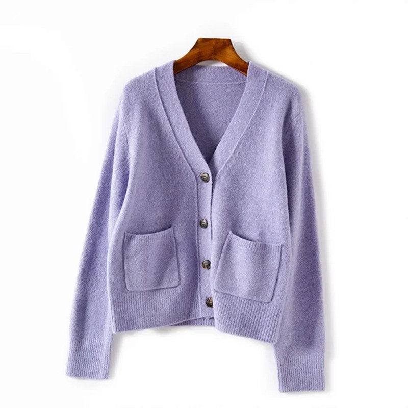 US $38.25 15% OFF Women Single Breasted Sweater Women Casual Solid Color V Neck Knitted Cardigan Long Sleeve Knitwear Top 2020 New Cardigans 