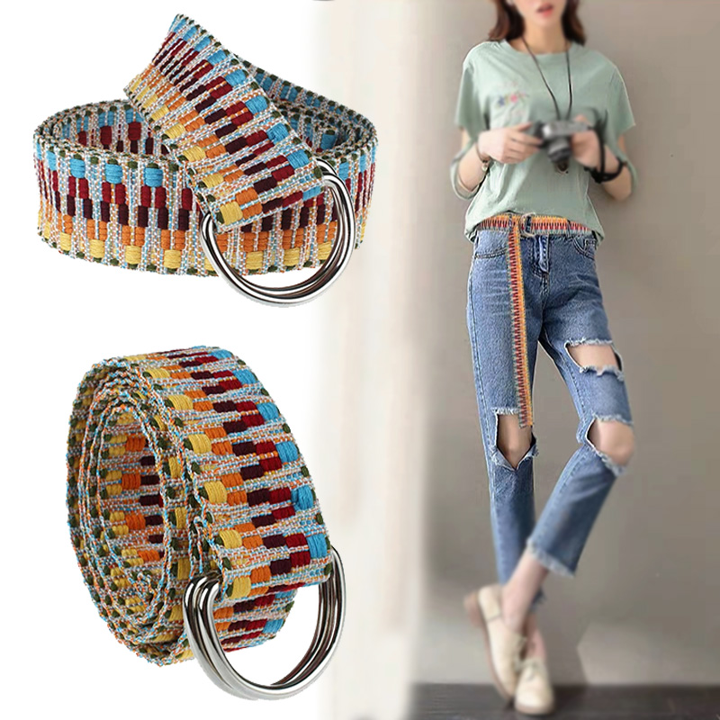 New Women Belts Casual Boho Girl Double-sided Printed Canvas Belt Women's Fashion Decoration Trousers Jeans Harajuku Waistband