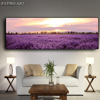 Canvas Painting Lavender Sunset Nordic Landscape Posters and Prints Modern Flower Wall Art Picture for Living Room Decor Picture nordic lavender sea landscape posters and prints canvas painting flower scandinavian wall art picture for living room home decor