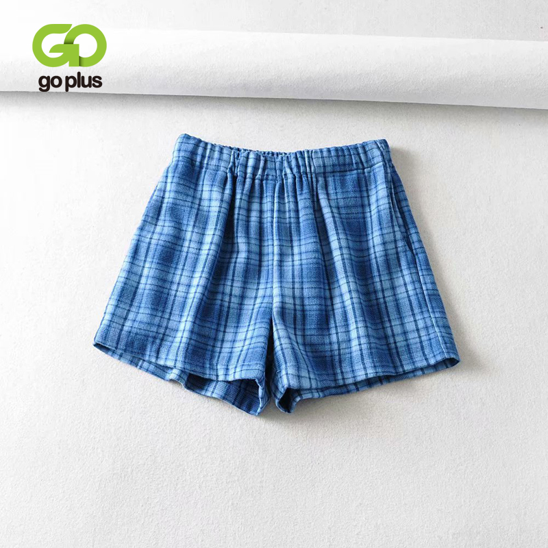 GOPLUS Summer Women's Shorts Vintage Plaid High Waist Shorts Women Short Femme Ropa De Mujer Spodenki Damskie