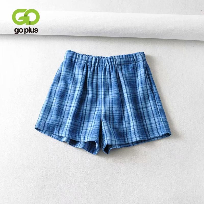 GOPLUS Summer Women's Shorts Vintage Plaid High Waist Shorts Women Short Femme Ropa De Mujer Spodenki Damskie