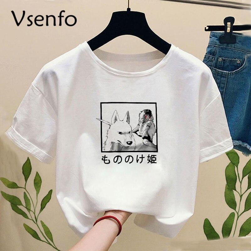 Princess Mononoke T-shirt With Print Ghibli Studio Tshirt Women Casual Short Sleeve Tee Shirt Harajuku T-shirts