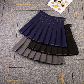 2020 new plaid skirt high waist pleated skirt  girls Solid Acrylic  black short skirt college skirt for womens pleated skirt box pleated skirt