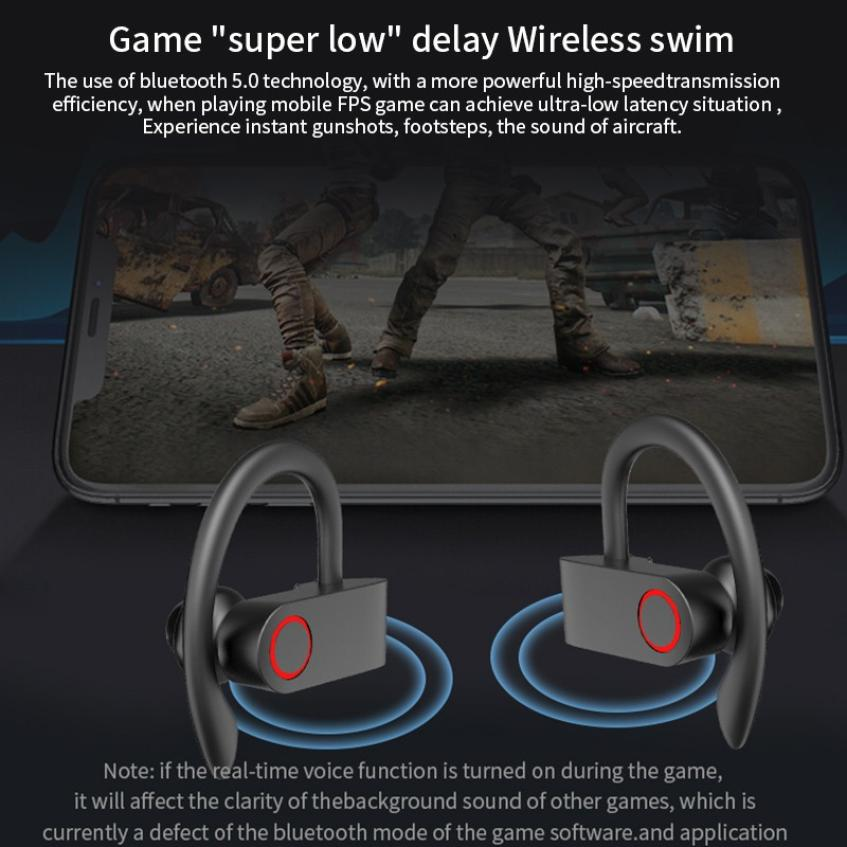 JHO-A9S Bluetooth 5.0 Ear-mounted Wireless TWS Headset HiFi Sound HD Call Dynamic Headphone Auto Connection Ear Hanging Earphone (10)