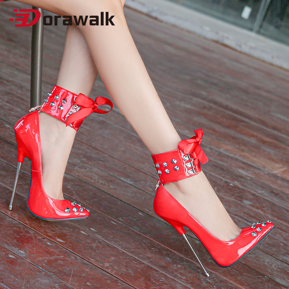 Women Extreme High Heels Pumps Riband Rivets Pointed Toe Thin Heel Sexy Fetish SM Stilettos Nightclub Party Unisex Shoes Size 46