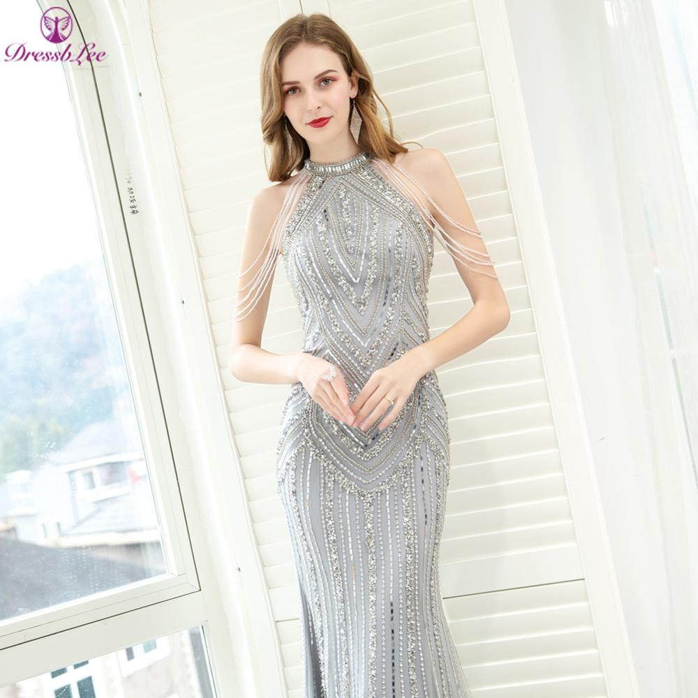 DressbLee Sparkly Silver Dubai Mermaid Evening Dresses Full Hand-Beaded Long Evening Dress Sexy Formal Party Gown