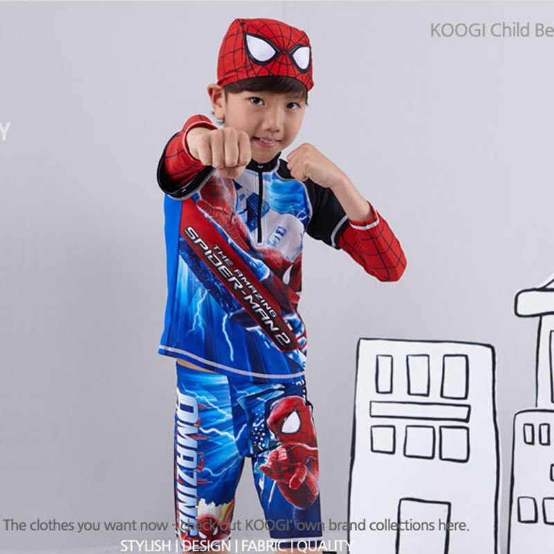 Coreano-estilo infantil roupa de banho menino homem-aranha split tipo manga longa grande menino sol-resistente rápido-seco fontes termais grande estudante tamanho