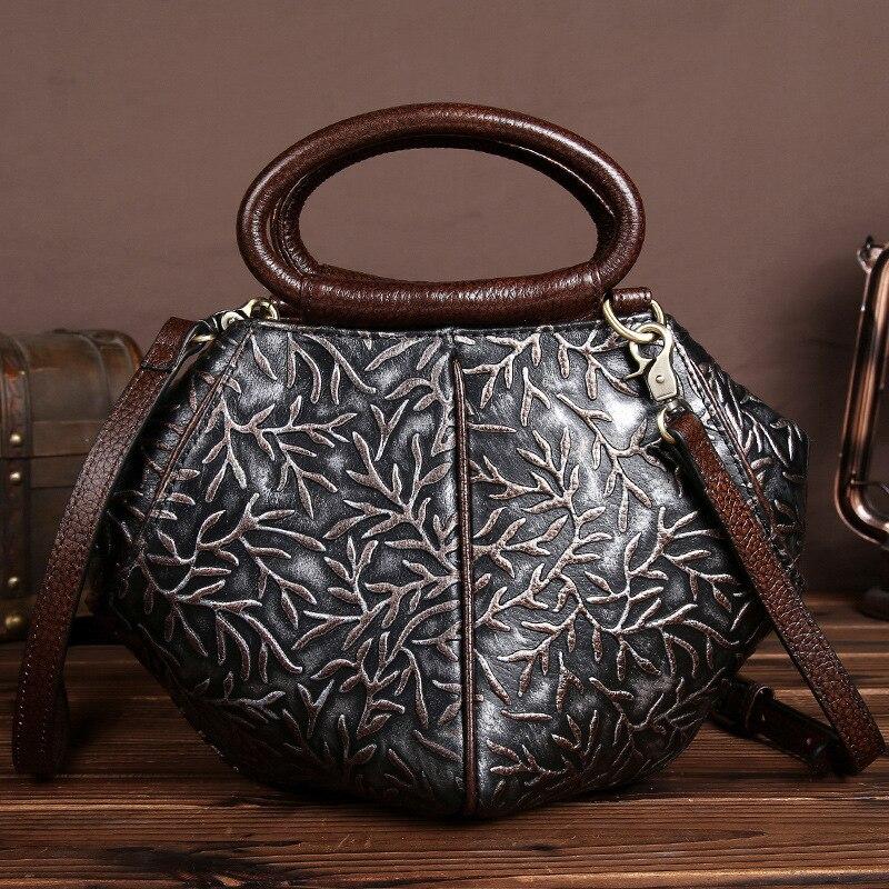 Nouveau luxe Vintage femmes sacs à main en cuir de vache véritable gaufrage fleur dames coquille Totes Messenger sacs à bandoulière pour les filles