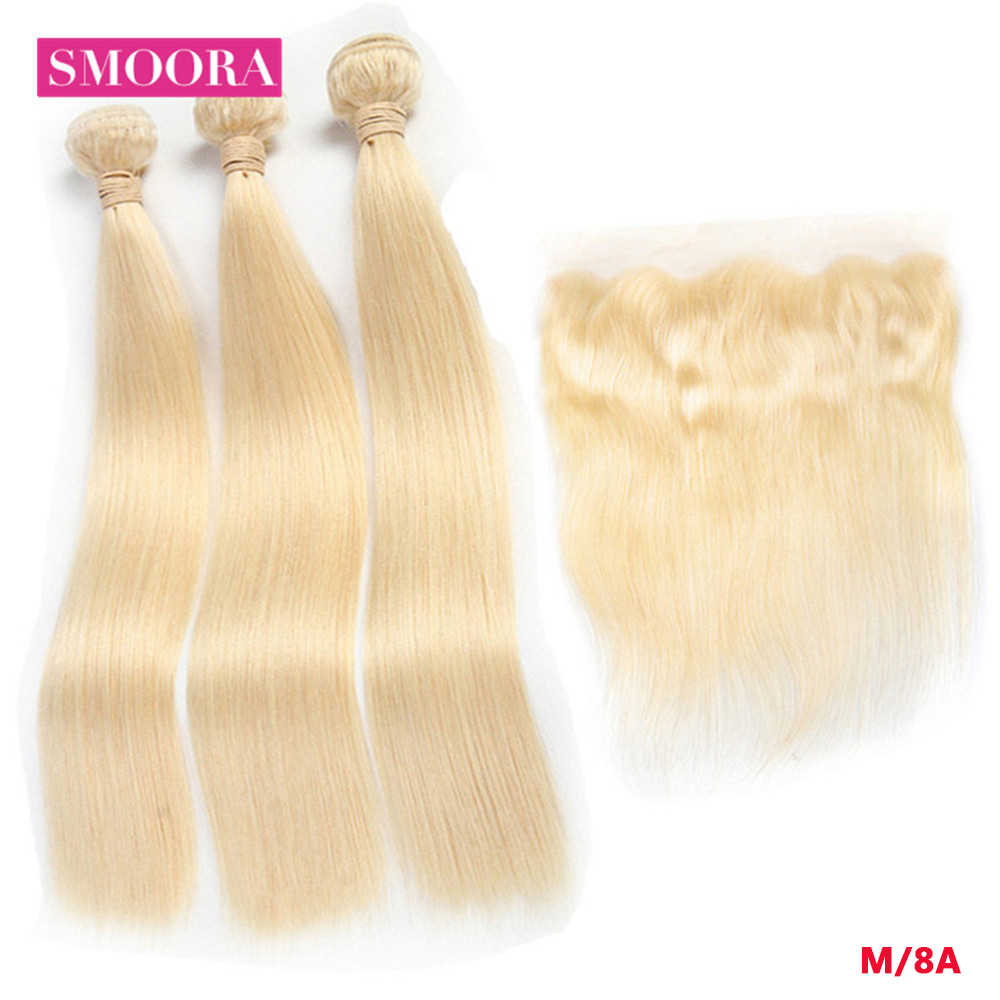 Straight Hair Bundles with Closure Remy 613 Blonde Frontal with Bundles Brazilian Hair Weaves Extension 8-28 inch Smoora