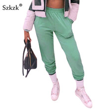 Liooil Fall Green Cotton Baggy Sweat Pants Women Bottoms Win