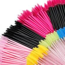 50 pçs extensão de cílios escova de sobrancelha descartável rímel varinha aplicador spoolers cílios de olho escovas de cosméticos conjunto de ferramentas de maquiagem