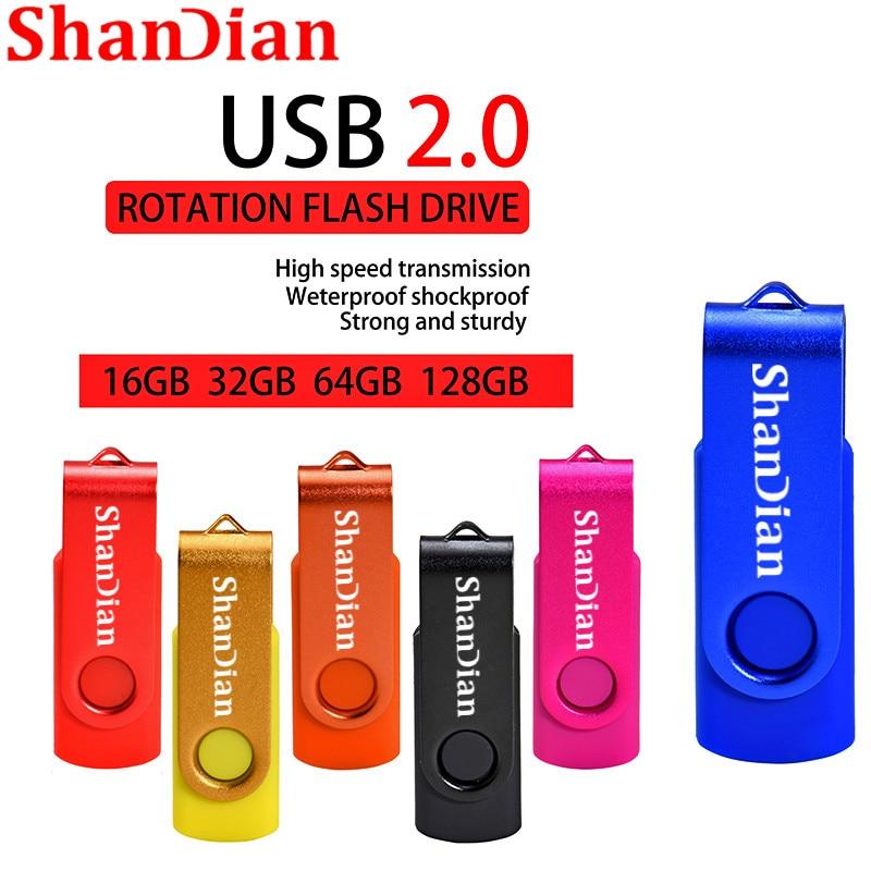 SHANDIAN New USB Flash Drives Swivel External Pendrive 64GB 32GB 16GB 8GB 4GB Memory Stick Usb Creative Pen Drive