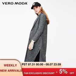 Vero Moda женское винтажное шерстяное прямое длинное шерстяное пальто с боковыми карманами | 319127506