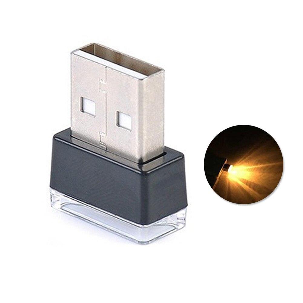 Портативный USB СВЕТОДИОДНЫЙ ночной Светильник для салона автомобиля с внешней атмосферой, декоративная лампа - Название цвета: Цвет: желтый