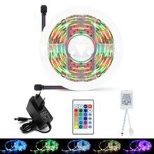 цена на RGB Neon LED Strip Light 5M 2835 Waterproof LED Strip Warm White Power Adapter Tape Flexible Ribbon Remote IR WIFI TV Backlight
