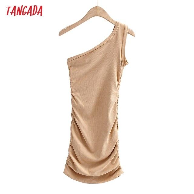 Tangada Women Solid Color One Shoulder Mini Dress Strap Sleeveless 2021 Fashion Lady Sexy Party Dresses Vestido 4P88 6