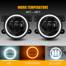 цена на 30W 4 Inch Round for Jeep Wrangler JK LJ TJ Led Fog Light White Halo Ring Angel Eyes & White Lamp DRL Bulb Angle Eyes