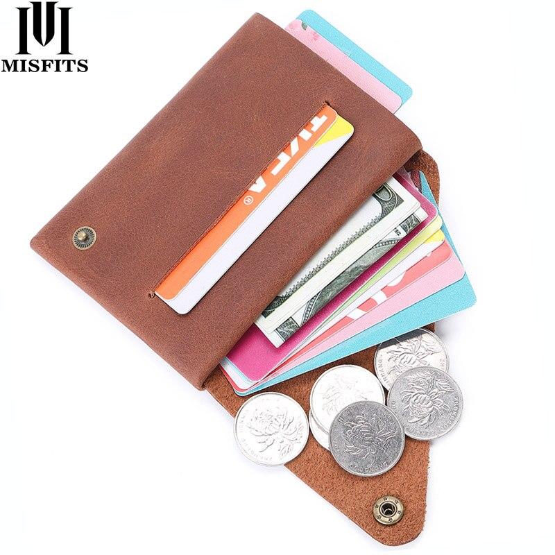 MISFITS crazy horse leder geld-clip brieftasche männer vintage dünne karte brieftasche männlichen mini geldbörse kleine geld clamp mann bargeld halter