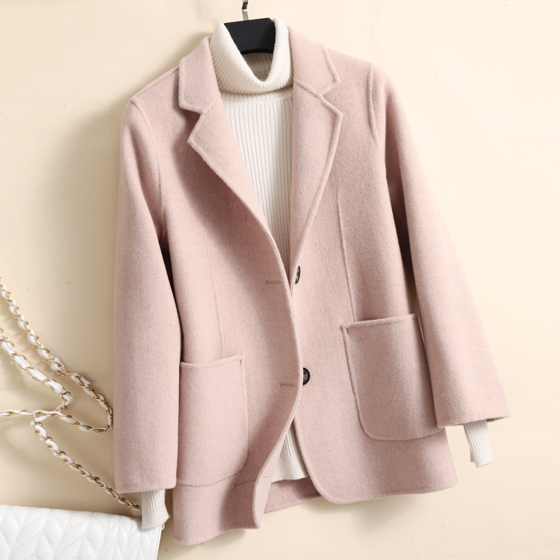 High Quality Double-faced Cashmere Jacket Coat Women Outwear 2021 Autumn Winter Office Lady Slim Short Wool Coat Female Abrigos