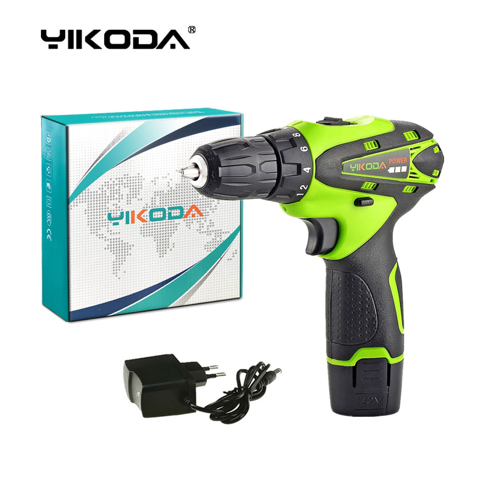 YIKODA 12v Cordless Screwdriver Drill Battery Rechargeable Electric Drill With One Lithium Battery Power Tools Carton Package