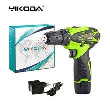 Yikoda 12vコードレスドリルのバッテリー充電式電動ドライバーで 1 リチウム電池電源ツールカートンパッケージ