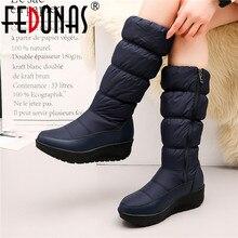 Женские сапоги до середины икры FEDONAS, черные утепленные сапоги на платформе с круглым носком и боковой молнией, повседневная обувь на зиму 2020